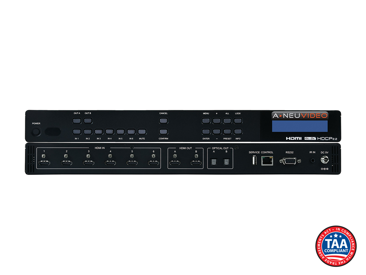 ANI-62HDRH: 6X2 HDR HDCP 2.2 4K@60Hz HDMI 18G MATRIX SWITCHER w/ AUDIO DE-EMBEDDING