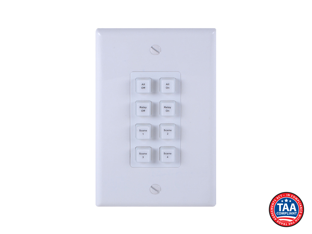 ANI-8WP: 8-BUTTON PROGRAMMABLE ILLUMINATED IP WALL PLATE CONTROL KEYPAD