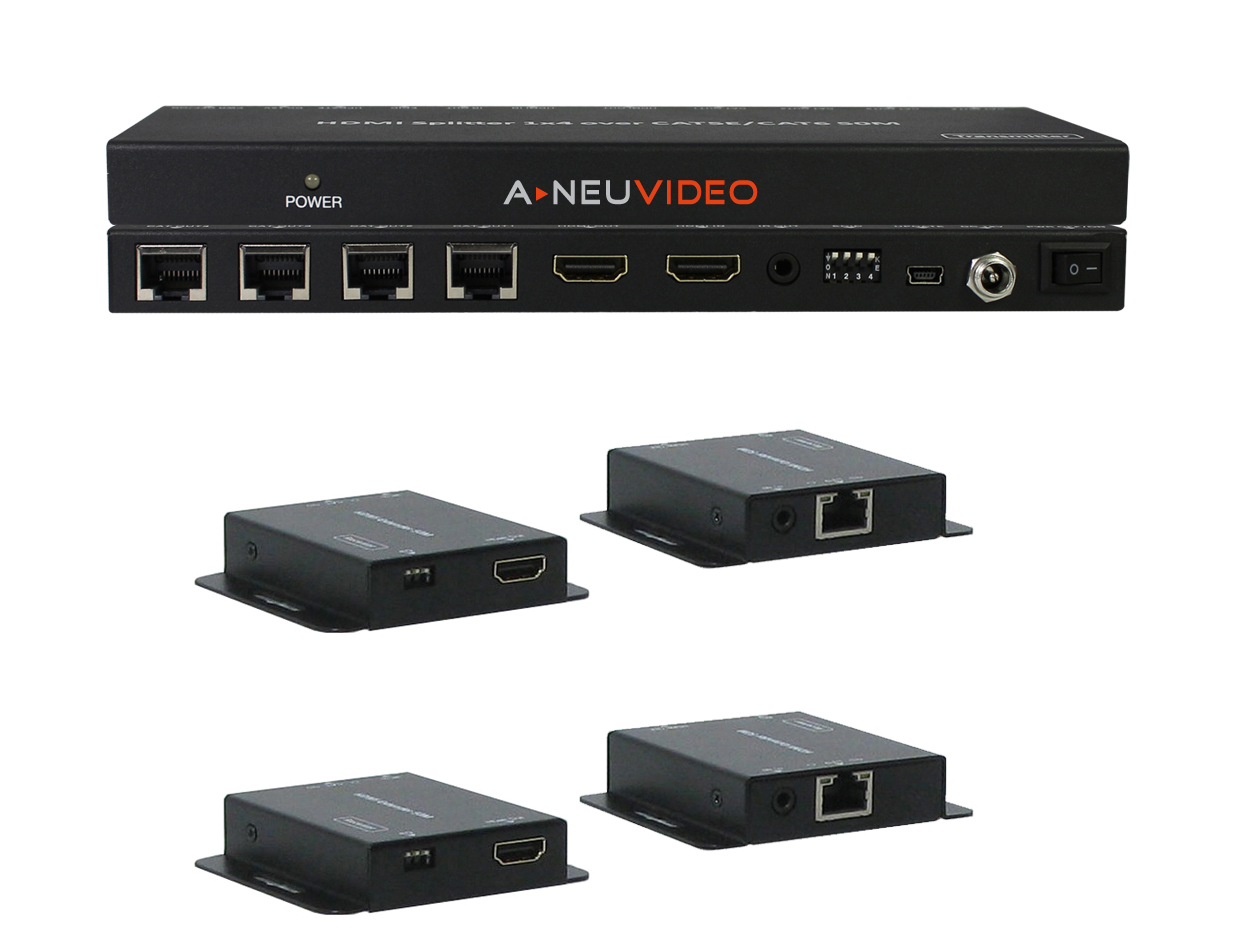 ANI-0104POE: HDMI POE 1x4 SPLITTER OVER CAT5e/6 EXTENDER